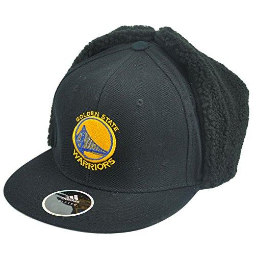 NBA Golden State Warriors Fitted Ear Flap Hat Cap Fleece Black Trapper 7
