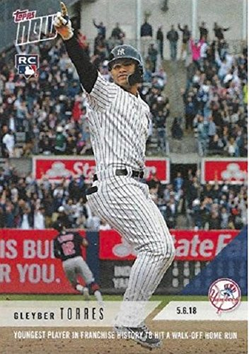 2018 Topps Now - Gleyber Torres - Youngest Player in Franchise History to hit a Walk-off HR - New York Yankees Baseball Rookie Card #180