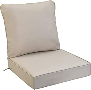 AAAAAcessories Outdoor/Indoor Water-Resistant Deep Seat Chair Cushion, Replacement Patio Furniture Cushions, 24 x 24 x 5 Inch, Beige