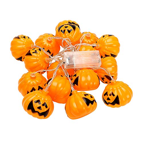 TechCode Halloween Pumpkin Lantern, Halloween Pumpkin Fairy Lighting Skull LED String Lights Halloween Decoration Christmas Tree Ghost Festival Supplies LED Lantern Pumpkin Cute Lamps (Warm White)
