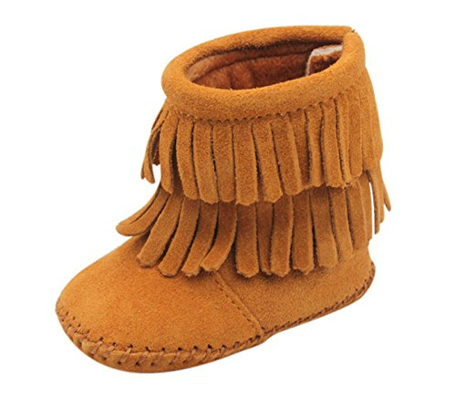 Unique Baby Baby-Girls Suede Double Fringe Baby Booties (L 5.4 Inches) Brown -