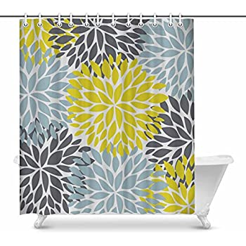 InterestPrint Dahlia Pinnata Flower Yellow Gray And Light Blue Home Decor Floral Waterproof Polyester Fabric Shower Curtain Bathroom Sets With Hooks