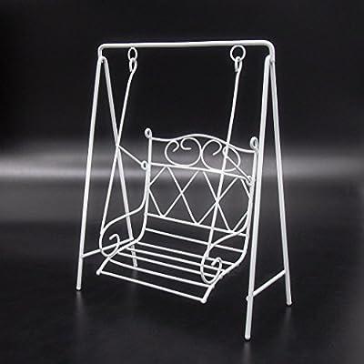 Odoria 1:12 Miniature White Metal Garden Porch Swing Chair Dollhouse Furniture Accessories: Toys & Games