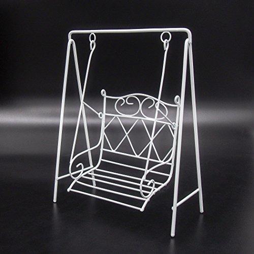 Odoria 1:12 Miniature White Metal Garden Porch Swing Chair Dollhouse Furniture (Dollhouse Swing)