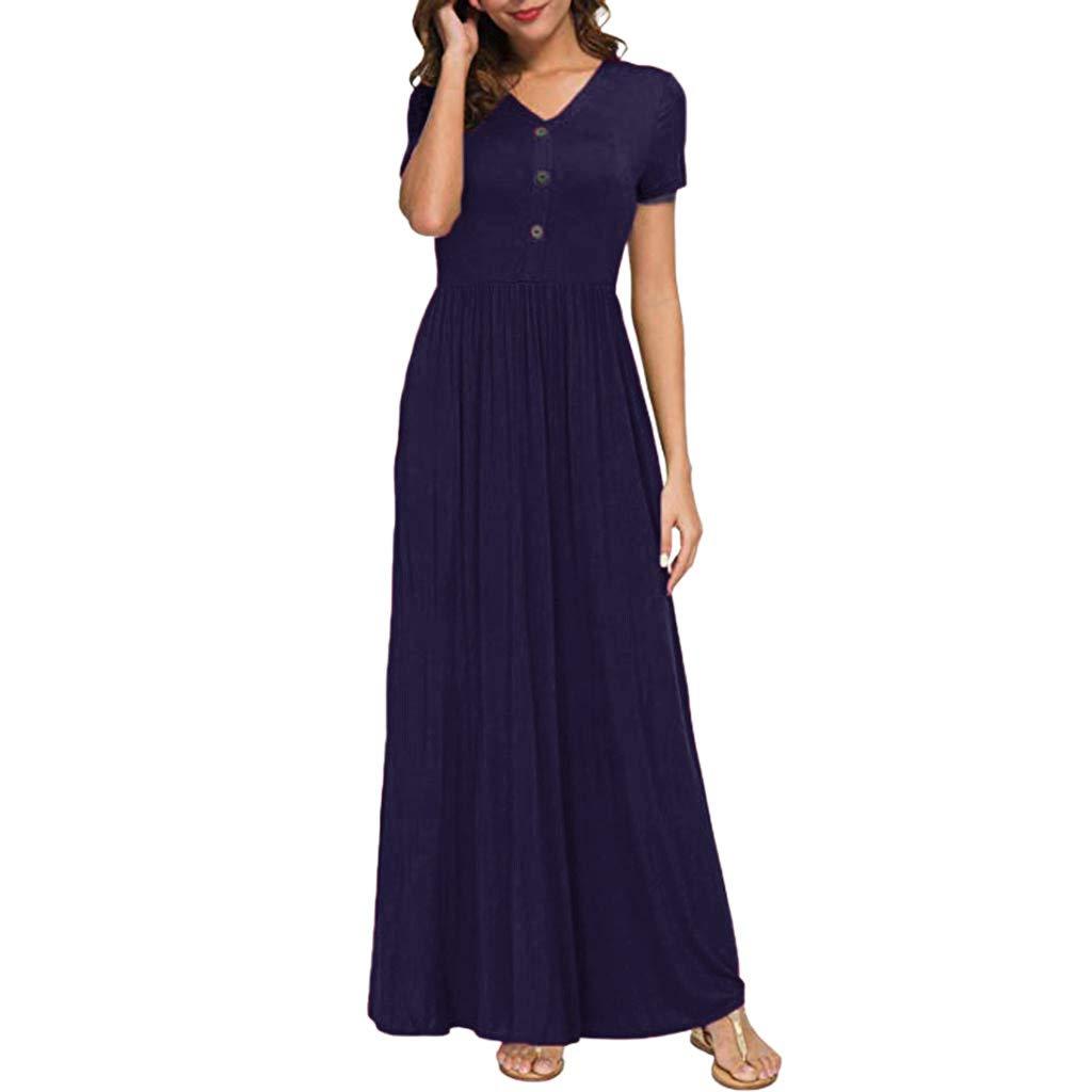 Twinsmall Maxi Dress, Women Casual Long Plain Dress Boho V Neck Sleeveless Flowy Pleated Loose Long Beach Party Dress (M, Navy)
