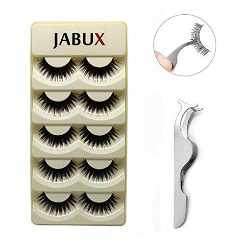 JABUX 5 Pairs Black Long Thick Handmade Messy False Eyelashes Voluminous Reusable Fake Eye Lash Extension For Makeup(Free Eyelash Applicator Tool Fish Tail Clip) (A42)