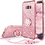 Glitter Cute Samsung Galaxy S8 Plus Case Girls with Stand, Bling Diamond Rhinestone Bumper with Ring Kickstand Clear Thin Protective Sparkly Luxury Pink Galaxy S8 Plus Case for Girl - Rose Gold