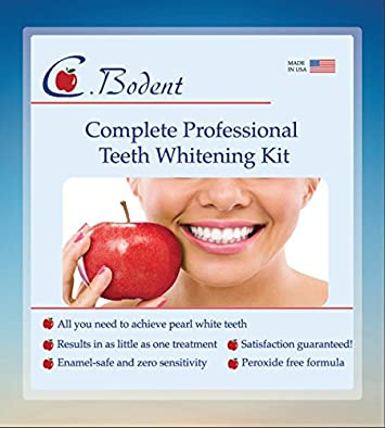 CBodent Complete Professional Teeth Whitening Kit- Made in USA- Includes a pretreatment liquid, 3 Syringes of 35 Carbamide Peroxide Whitening Gel, a remineralizing gel LED LIGHT and Mouth Tray