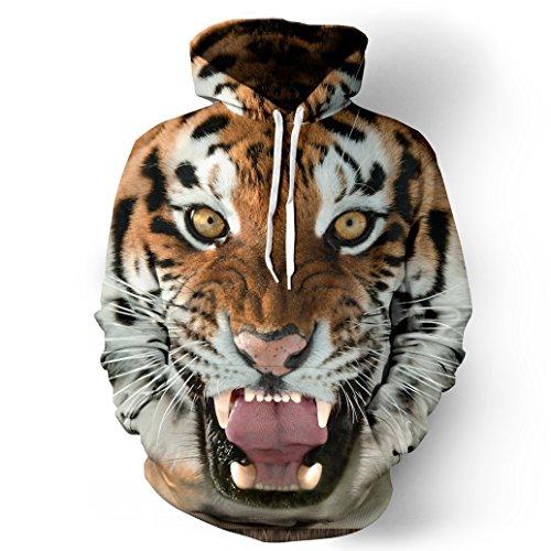 NEWCOSPLAY Unisex Realistic 3D Digital Print Pullover Hoodie Hooded Sweatshirt (L/XL, tiger) ()