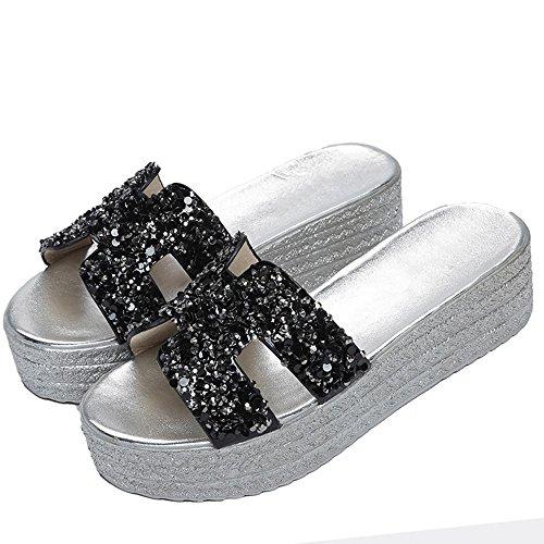 Heart&M Casual talón de las lentejuelas del Rhinestone de cuña de la plataforma de las mujeres zapatos de color sandalias de los deslizadores de la playa sólidas Black