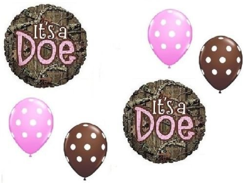 LoonBalloon MOSSY OAK Its a Doe Pink Girl Baby Shower Camouflage 6 Mylar & Latex Balloons