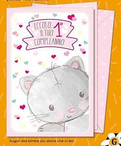 Tarjeta Felicitación Dolce Primer Cumpleaños Niña con gato 1 ...