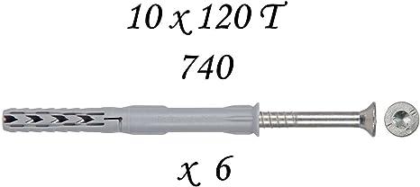 Fischer Frame Fixing Sxr 10 X 120 T Screw Anchors , T40 Grey Nylon, Allen Hex