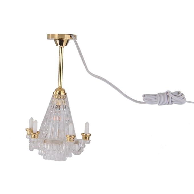 Lámpara Techo Eléctrico LED en Miniatura Accesorio para Casa de Muñecas