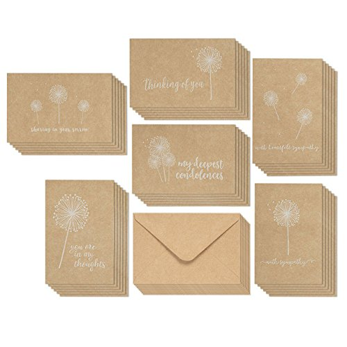 Sympathy Cards - 36-Pack Sympathy Cards Bulk, Greeting Cards Sympathy Kraft Paper, 6 Floral Designs, Envelopes Included, Assorted Sympathy Cards, 4 x 6 Inches by