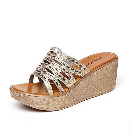 Moda de verano con zapatillas de fondo gruesas/Sandalias antideslizantes y de diamantes de imitación A