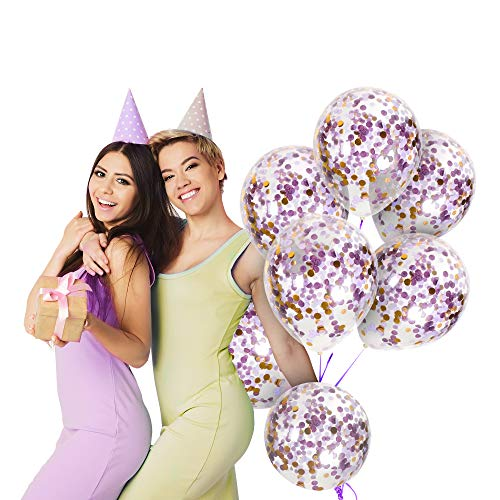 Purple Confetti Balloons with Unicorn Lavender Mermaid Violet and Gold Foil Tissue Paper Poka Dots in 12 Inches Clear Transparent Latex Balloon for Elegant Weddings Birthday Party Baby Showers