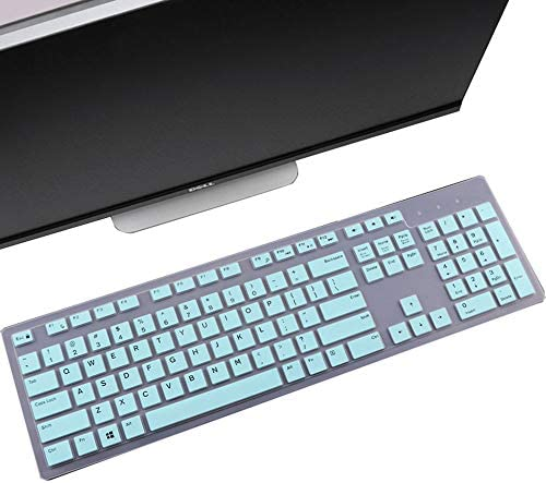 MUBUY-GOL Keyboard Cover Skin Fit Dell KM636 Wireless Keyboard/Dell KB216 Wired Keyboard/Dell Optiplex 5250 3050 3240 5460 7450 7050/Dell Inspiron AIO 3475/3670/3477 All-in one Desktop-Mint Green