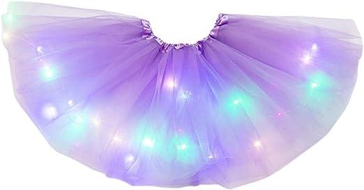 zhoujinf - Falda tutú con luz LED para niñas pequeñas, Color neón ...