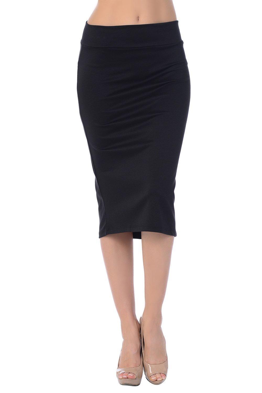 Jubilee Couture Women's Ponte Roma Midi Pencil Skirt (3X, Black)
