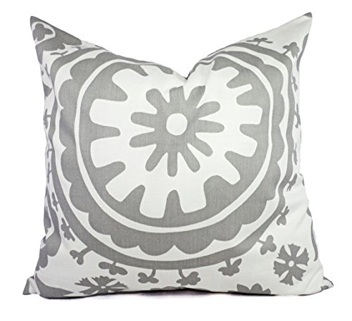 Custom Pillows - Grey and White Pillow Shams - Suzani Pillow Covers - Storm Pillow Cases - Decorative Pillow
