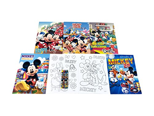 - 12 Sets of Disney Mickey Mouse & Friends Coloring Books and Crayon Set Children Party Favors Bag Filler
