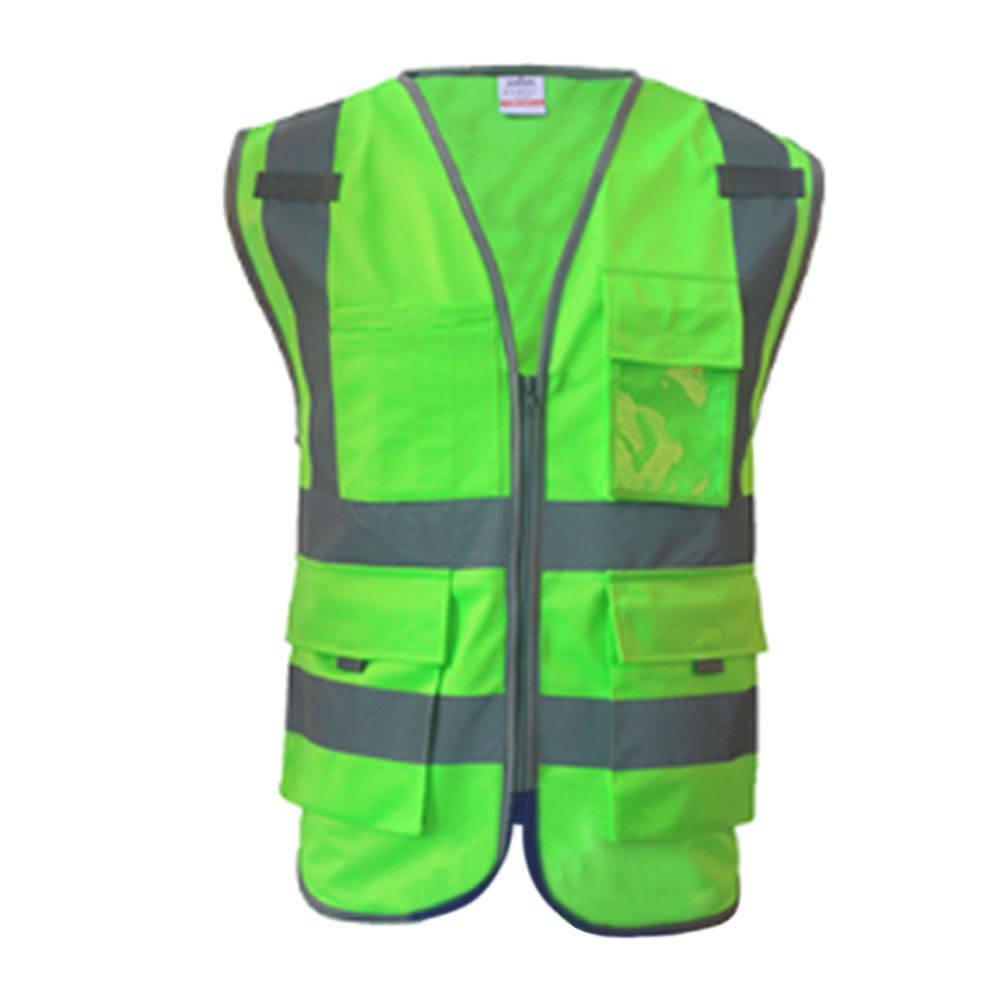 Meijunter High Visibility Reflective Safe Vest Multi Pockets Workwear Security Waistcoat Color Green