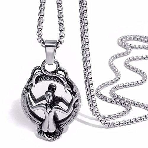 (Elfasio Jewelry Stainless Steel Pendant Necklace Gothic Speculum Skeleton Snake Witch Mirror Chain 20