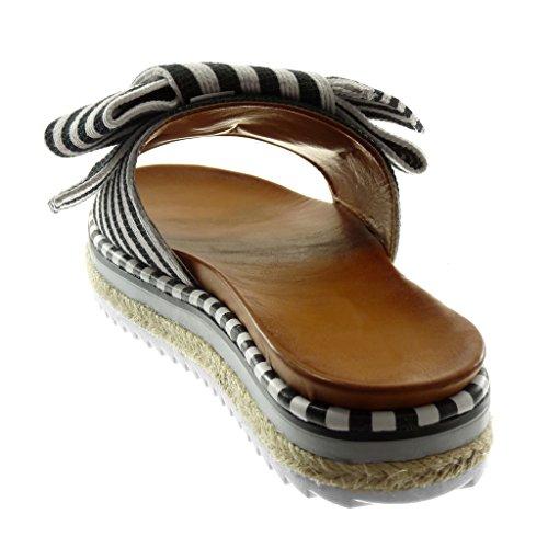Angkorly Women's Fashion Shoes Sandals Mules - Slip-on - Platform - Knot - Node - Line - Bicolour Flat Heel 3.5 cm Black 2 ezDdz