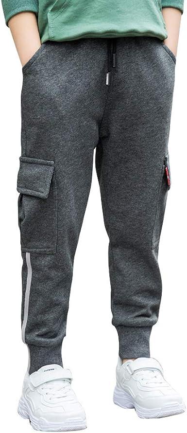 LAPLBEKE Niño Pantalones Deportivos De Cargo Pantalón Largos Cintura Elástica Chándal Primavera Otoño Algodón Joggers: Amazon.es: Ropa y accesorios
