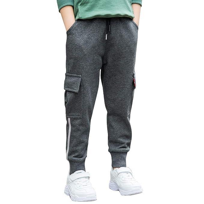 LAPLBEKE Niño Pantalones Deportivos De Cargo Pantalón Largos ...