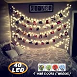 #7: AbeyongD 40 LED Photo Clips String Lights,18ft USB Powered , Fairy String Lights for Hanging Photos Pictures Cards and Memos, Ideal gift for Bedroom Decoration (Warm White)