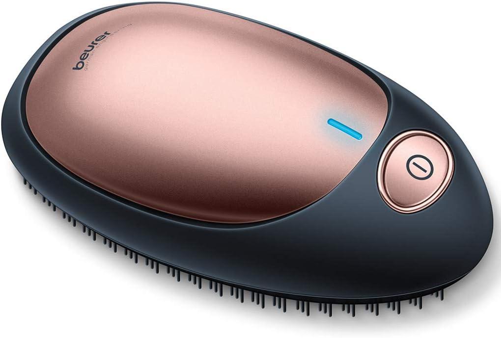 Beurer HT10 - Cepillo iónico desenredante, superficie suave al tacto, suaves cerdas de plástico, función iónica, indicador luminoso de encendido, funciona con pilas, color negro