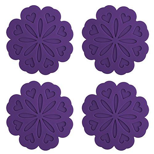 ME.FAN 4 Set Silicone Pot Holders, Trivet Mat, Jar Opener, Spoon Rest and Kitchen Trivet, Non Slip Flexible, Durable, Heat Resistant Dishwasher Safe Kitchen Trivet and Pot Pads -Purple (Trivet Flower)