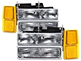 98 silverado 1500 - Headlights Depot Replacement for Chevy Silverado Suburban Blazer Headlamps Headlight Assembly 8PC Set Pair OEM Style