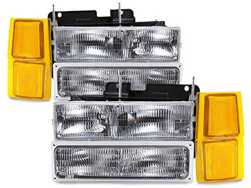 HEADLIGHTSDEPOT Chrome Halogen Headlights Compatible with Chevy Blazer C/K 1500 2500 3500 Suburban 1500 2500 3500 Tahoe Includes Driver and Passenger Side Headlamps 8PC Set with Corners Signal Lights