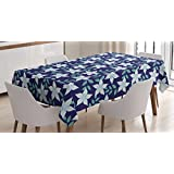 Indigo Tablecloth by Ambesonne, Hawaiian Island Spring Summer Time Flowers Buds Leaves Image, Dining Room Kitchen Rectangular Table Cover, 60W X 90L Inches, Navy Blue Fern Green and White