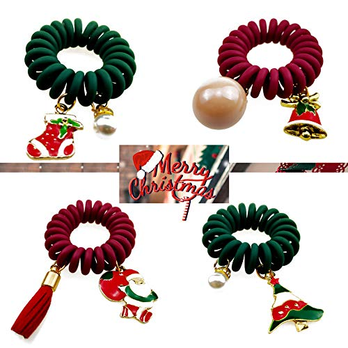 Merry Christmas Spiral Hair Ties FHlove, Power Traceless Hair Ring Rubber Hair Bands Christmas Gifts Father Christmas Trees Jingle Bell Stocking, 4 pcs