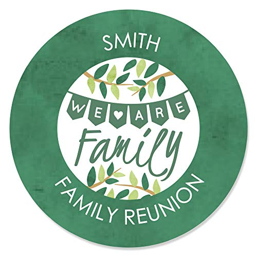 Personalized Family Tree Reunion - Custom Family Gathering Party Favor Circle Sticker Labels - Custom Text - 24 Count ()