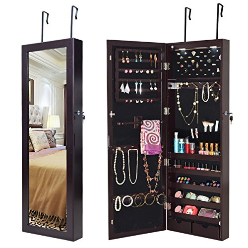 Giantex Wall Door Mounted Lockable Jewelry Cabinet Mirrored Armoire Jewelry Holder, with Two Storage Drawer Organizer with LED Lights and Keys, (2 Drawer Mirrored Armoire)