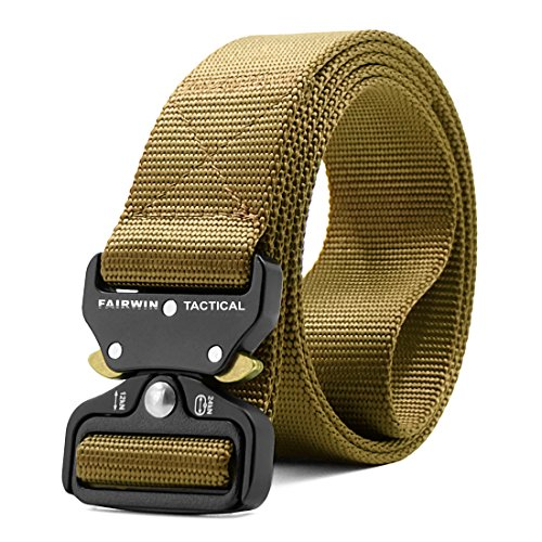 Fairwin Tactical Belt, Military Style Webbing Riggers Web Belt Heavy-Duty Quick-Release Metal Buckle (Tan, S 30