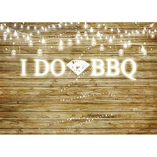RusticBaby Shower Background 7x5ft Glitter Lighting String Big Diamond Ring Photo Backdrop for Wedding Engagement Party I DO BBQ Themed Vinyl Backdrops for Photoshoot