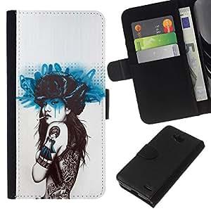 All Phone Most Case / Oferta Especial Cáscara Funda de cuero Monedero Cubierta de proteccion Caso / Wallet Case for LG OPTIMUS L90 // Smoking Girl Butterfly Tattoo