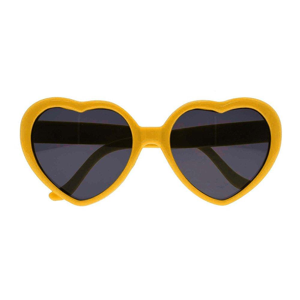 VKキュートハート型プラスチックフレームレトロサングラス眼鏡for Lady Girl子 B07CYX48R2  イエロー