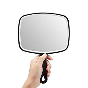 "OMIRO Hand Mirror, Black Handheld Mirror with Handle, 6.3"" W x 9.6"" L"