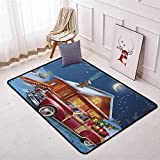 Christmas Better Protection Wooden Lodge with Classic American Truck and Tree Gifts Starry Sky Winter Snow Kid Game Carpet W35.4 x L47.2 Inch Multicolor