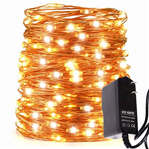LED String Lights 66ft with 200 LEDs Waterproof Outdoor Indoor Decorative Plug-in Light for Christmas Bedroom Garden Patio Parties,UL588 Approved (Copper Wire Lights, Warm Color)