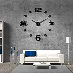The Geeky Days Cafe DIY Large Wall Clock Frameless Giant Wall Clock Modern Design Cafe Coffee Mug Coffee Bean Wall Decor Kitchen Wall Watch (Black)