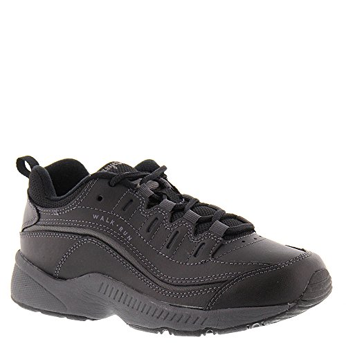 Easy Spirit Womens Romy Low Top Lace Up Walking Shoes, Black Leather, Size 8.5