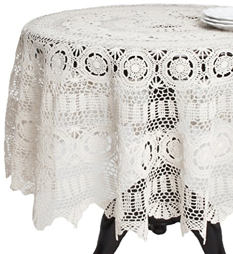 SARO LIFESTYLE 869 Crochet Tablecloths, 54-Inch, Round, White